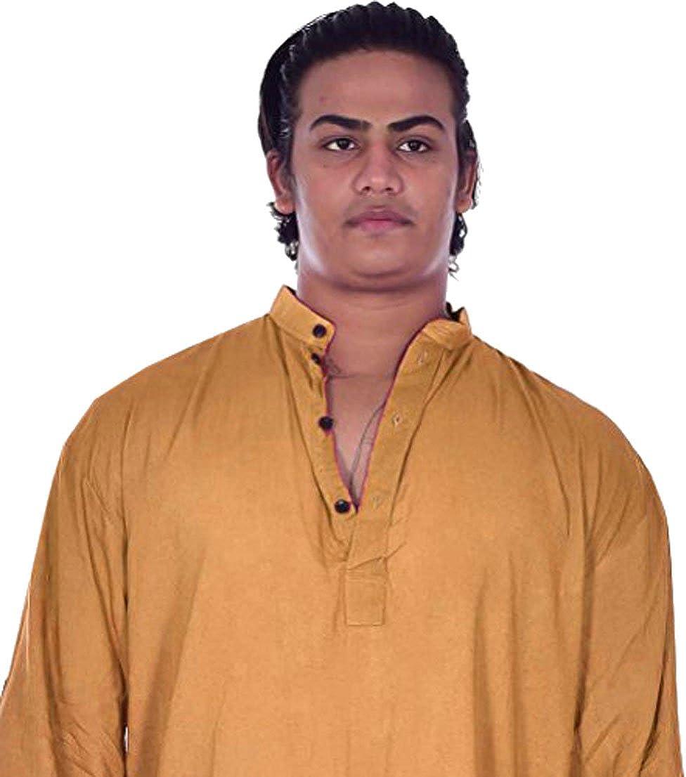Lakkar Haveli Mens Indian Kurta Solid Gold Color Shirt Tunic 100/% Cotton