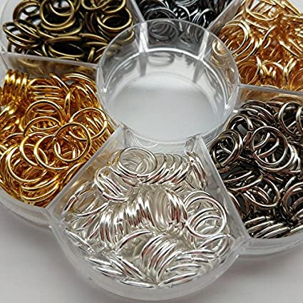 10mm Chenkou Craft 1 Box 6 Colors 480pcs Open Jump Ring /& Ring Jewelry Keychain Making from with 1 pc Jump Ring Open//Close Tool and 1 pc Clear Box