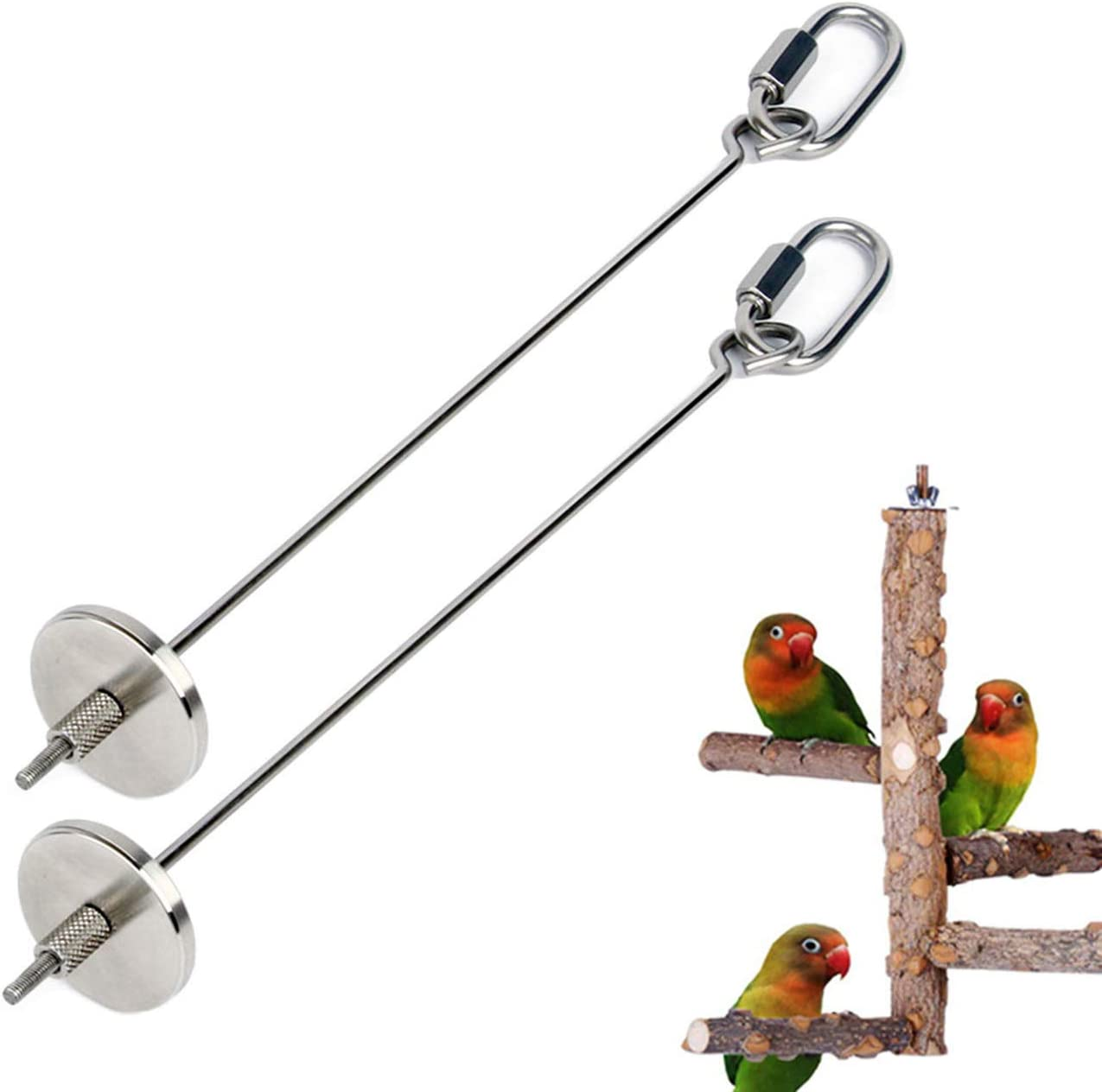 2 Pcs Parrot Bird Rabbit Hutch Cage Fruit Vegetable Food Holder, Stainless Steel Parrot Skewer Foraging Toy, Bird Feeder Toy Animal Treating Tool