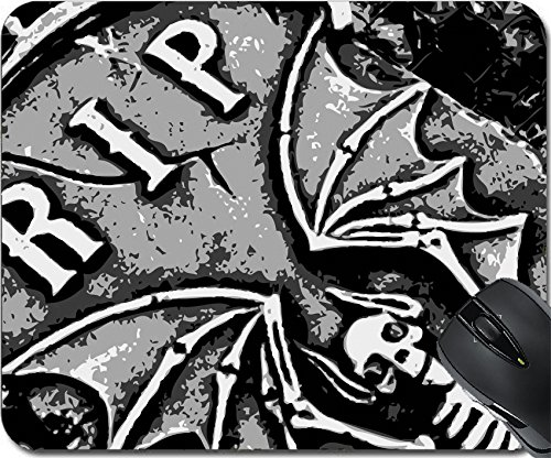 MSD Natural Rubber Mousepad Mouse Pads/Mat design: 1852043 halloween grunge RIP bat skeleton wings on tombstone (Bat Drip)