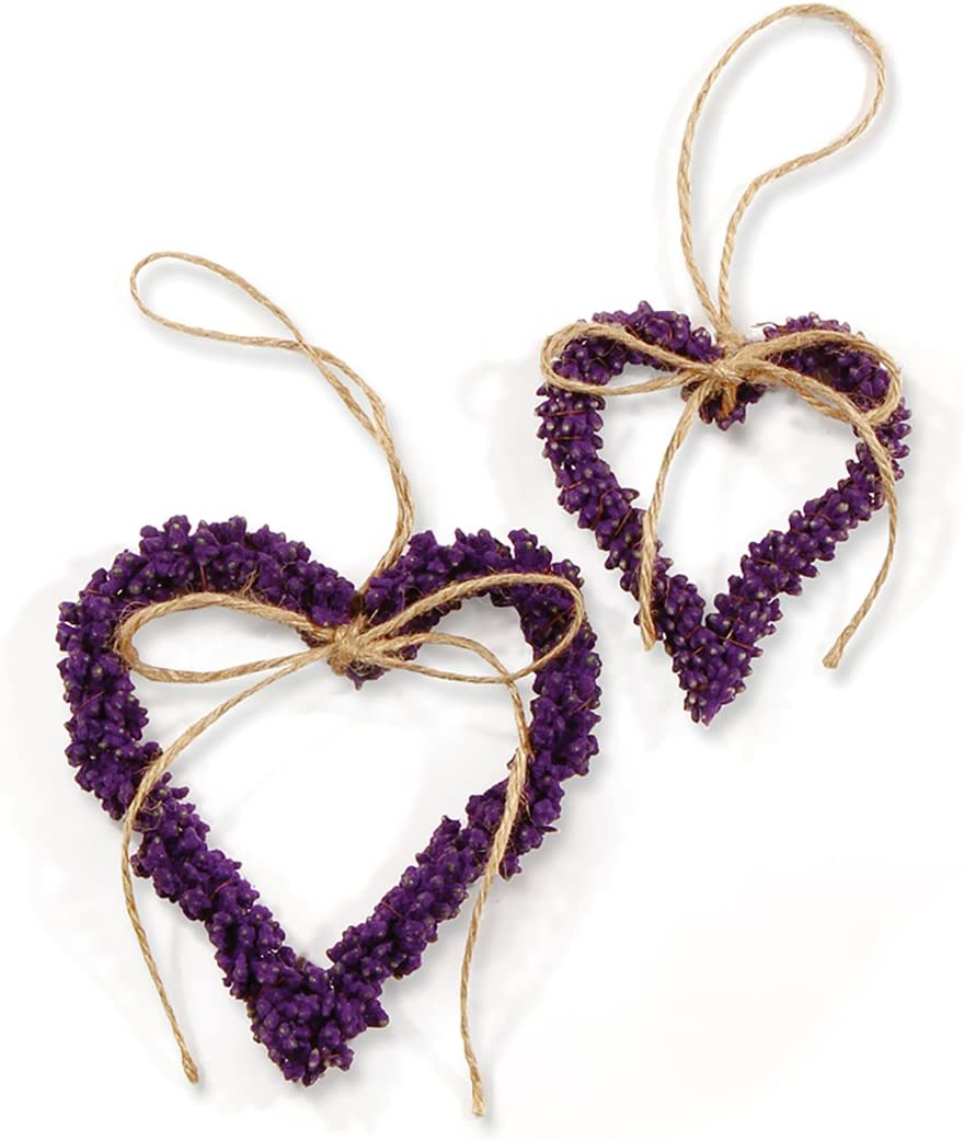 Napa Home & Garden Faux French Lavender Heart Shaped Wreath, Set of 2