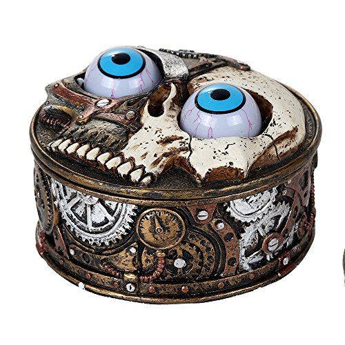 Pacific Giftware Steampunk Gearwork Skeleton Droid with Moving Eyeballs Lidded Round Box Decorative Trinket Stash Box