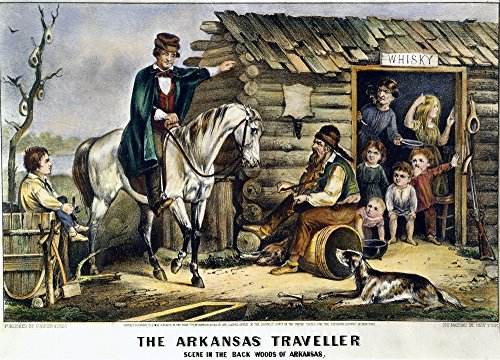 Posterazzi Arkansas Traveler. /Ncolor Lithograph 1870 by Currier & Ives On The Celebrated American Folk Dialogue and Fiddle Tune. by Poster Print by by, (18 x 24)