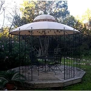 garden style round gazebo replacement canopy metal gazebo garden outdoor. Black Bedroom Furniture Sets. Home Design Ideas