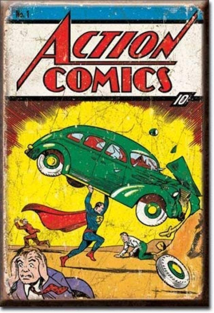 "Desperate Enterprises Superman Action Comic No1 Cover Refrigerator Magnet, 2"" x 3"""