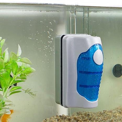 igemy magnético cepillo acuario pecera de cristal algas rascador limpiador flotante Curve, azul, Size