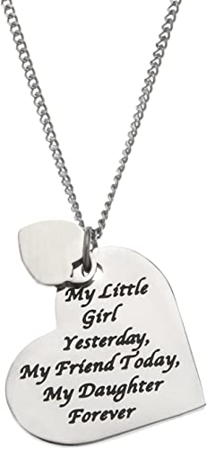 ANTIQUE SILVER A LITTLE GIRL YESTERDAY A FRIEND TODAY A DAUGHTER FOREVER  LOCKET