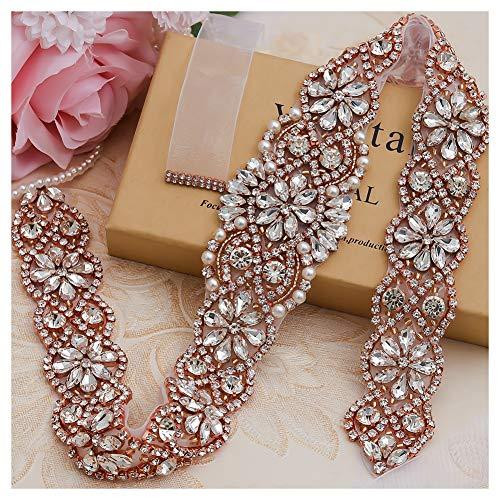 Yanstar Handmade Rose Gold Crystal Beads Rhinestone Bridal Wedding Belt Sash With White Organza For Bridal Wedding Party Gowns Dress