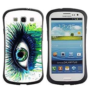 Suave TPU GEL Carcasa Funda Silicona Blando Estuche Caso de protección (para) Samsung Galaxy S3 I9300 / CECELL Phone case / / Green Blue Eye Lashes Painting Watercolor Art /
