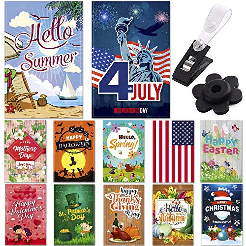 (Garden Flags - Set of 12 Seasonal Garden Flags - Festive Outdoor Garden Flags for 12 Monthly Holidays - Yard Flags Made of Sturdy Polyester with Flag Stopper and Mount Included - 12x18 Inches Size )