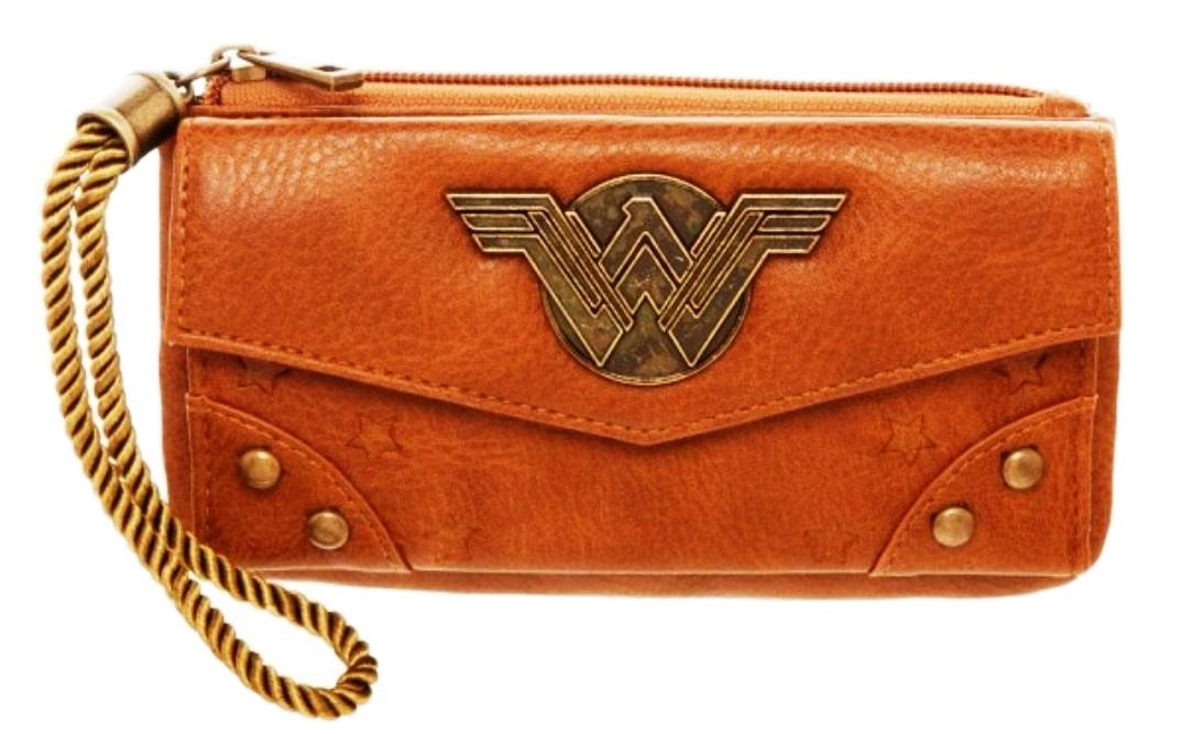 Wonder Woman Metal Logo Zip Top Tan Clutch Wallet