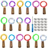 mifengda 16 Pack Wine Bottle Lights 8 Color Cork Shaped 20 Micro LEDs Wire Bottle Lights Battery Powered Copper Wire Lights A