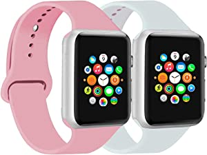 CoJerk Compatible for Apple watch Band 38mm 40mm 42mm 44mm,Replacement Band for iWatch Series 5/4/3/2/1 (Pink+White, 38mm/40mm-sm)