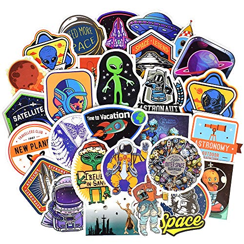 QTL Waterproof Space Vinyl Stickers Bomb Laptop Folders Water Bottle Skateboard Decals Toys for Kids (30Pcs/Pack) ()