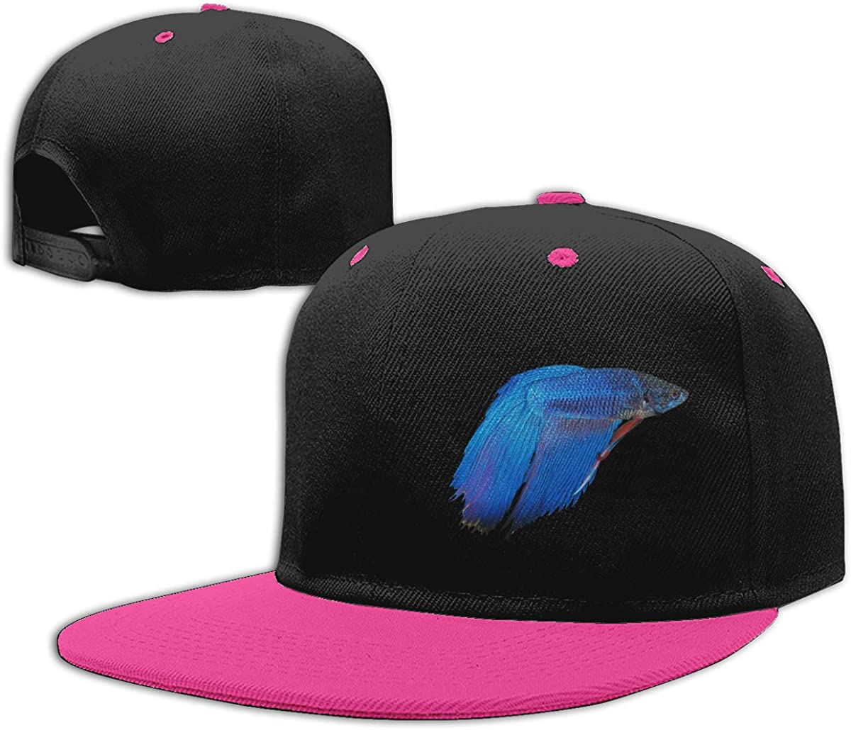 Blue Betta Fish Printed Flat Bill Baseball Caps NMG-01 Men Womens Hiphop Cap