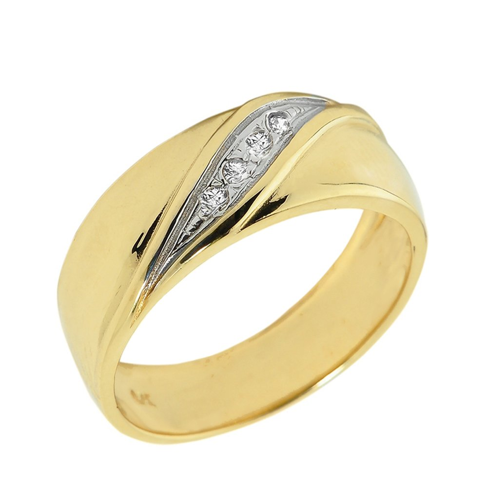 Men's 10k Yellow Gold 4-Stone Diamond Wedding Band (Size 13) by Men's Fine Jewelry (Image #1)