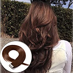 20-22 Inch Tape in Human Hair Extensions 100% Remy Straight Human Hair Professional Seamless Tape Skin Weft Extensions 40pcs 100g/pack Medium Brown (20'',#4)+ 20pcs Free Tapes