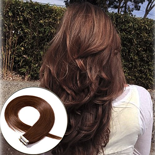 Hair Extensions Bonding - 100% Remy Tape in Hair Extension Human Hair Medium Brown 18'' Long Straight Thick Human Hair Bonding Double Sided Tape Seamless Skin Weft Hair 40Pcs/100g (#4) + 20pcs Free Tapes