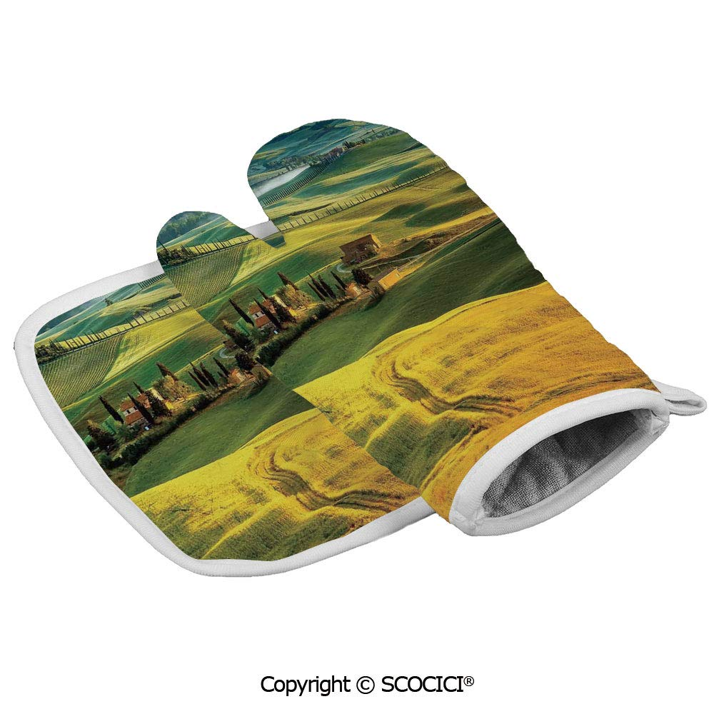 SCOCICI Durable Oven Glove Idyllic Landscape of Tuscany Road and Cypresses to Medieval Farmhouse Heat Resistant Kitchen Insulated Glove + Insulated Square Mat Insulated Glove Combination