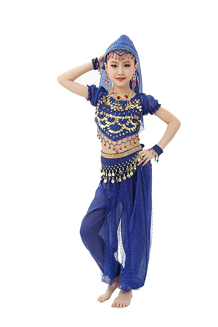 2a28f480a6f0 Top5: Feimei Girl's Exotic Jasmine Belly Dance with Halter Top Harem Pants  and Sequin Coins for Performance and Halloween