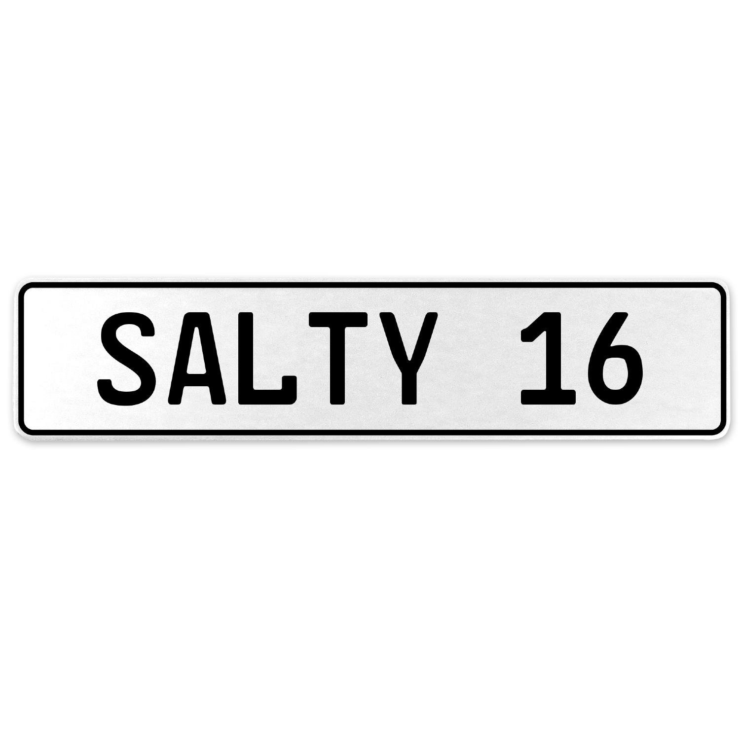 Vintage Parts 556692 Salty 16 White Stamped Aluminum European License Plate