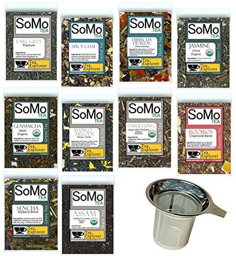 SoMo Tea, 10 Loose Leaf Tea Samplers Complete with Stainless Steel Tea Infuser, 50 Amazing Cups (150 grams/5.29oz.) of Green Tea, Herbal Tea, Black Tea, Fruit Tea, Earl Grey, Hibiscus, Organic Tea