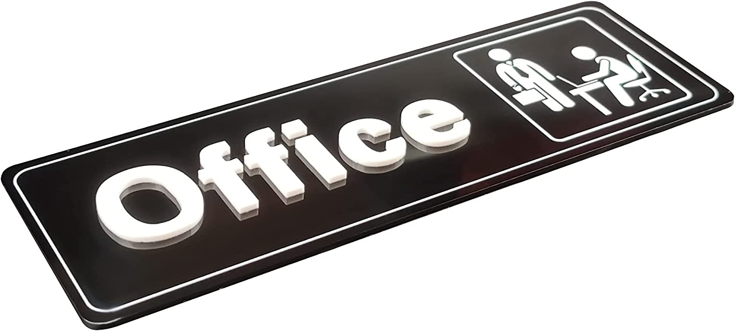The Office Sign,Self-Adhesive Office Door Sign 9 X 3 Inch,For Buiness and Home Design,Wall or Office Plaque(White/Black)