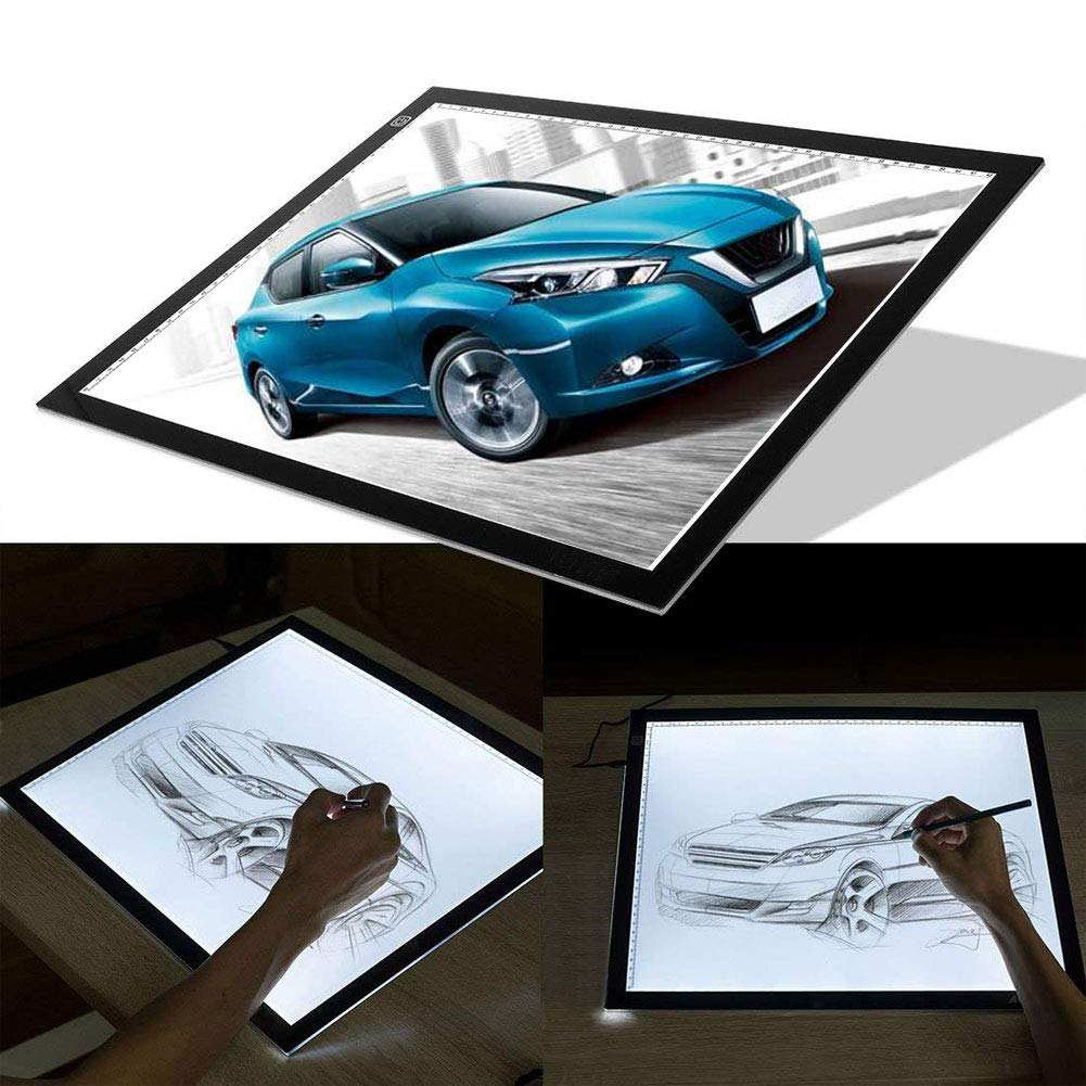 Tracing Light Box Light Pad Tracer A3 Large Portable Ultra Thin Adjustable Brightness USB LED Copy Board for Drawing Tracing Tattoo Sketching Animation Streaming Stenciling by SUNNY