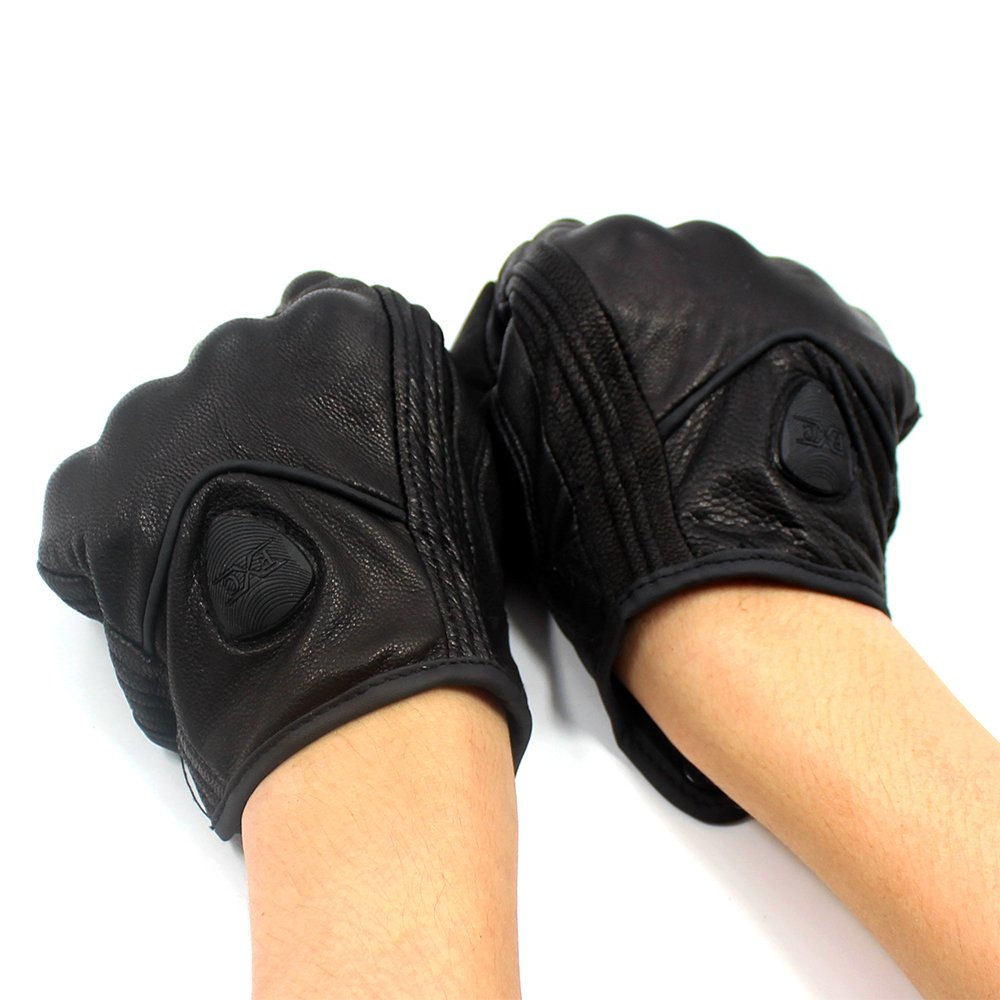FXC Full Finger Motorcycle Leather Gloves Men's Premium Protective Motorbike Gloves (L, Solid) by FXC (Image #5)