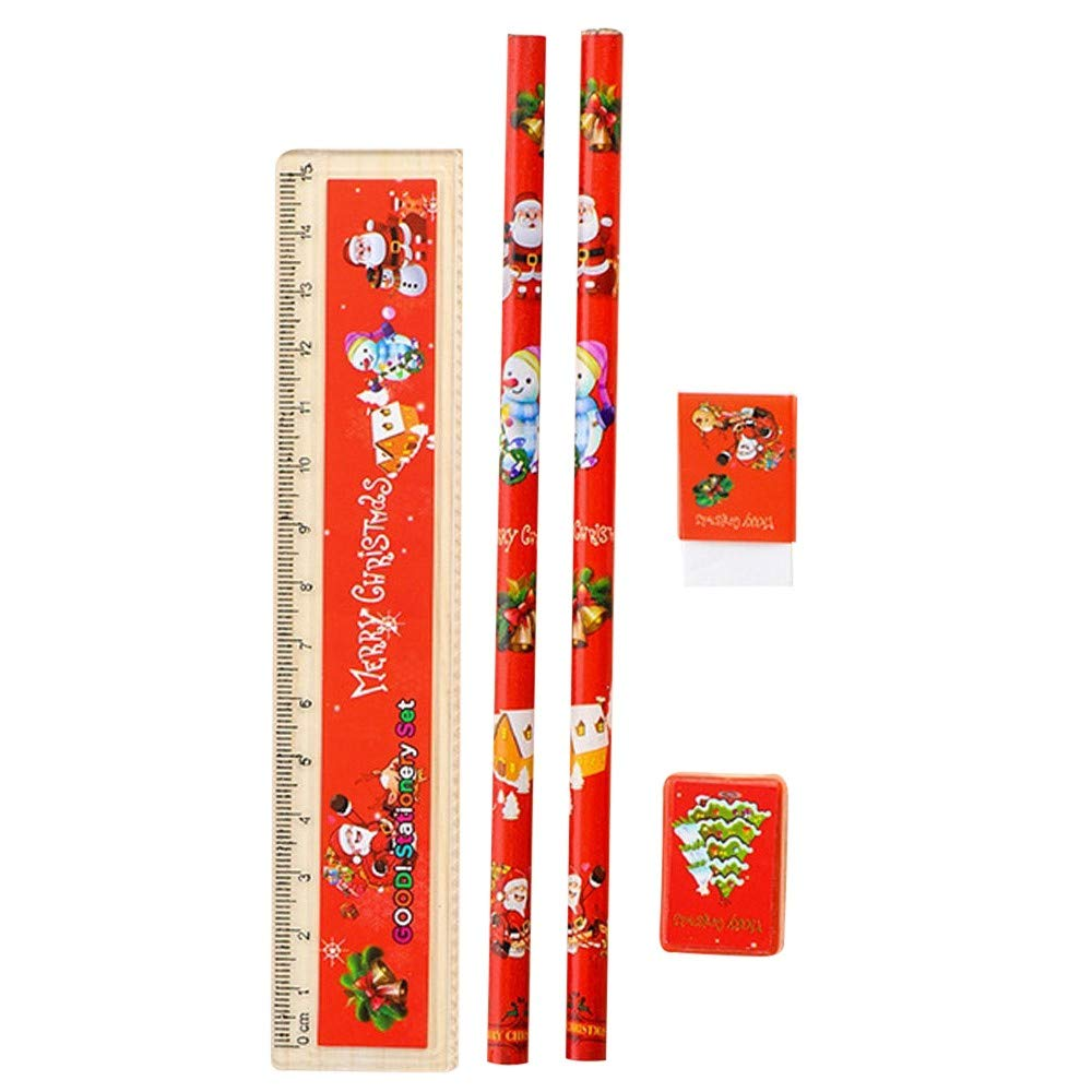 Pausseo Five-Piece Christmas Gift Set - Primary School Stationery Holiday Pencil Eraser Combination - 2 Pencils - 1 Ruler - 1 Eraser - Pencil Sharpener