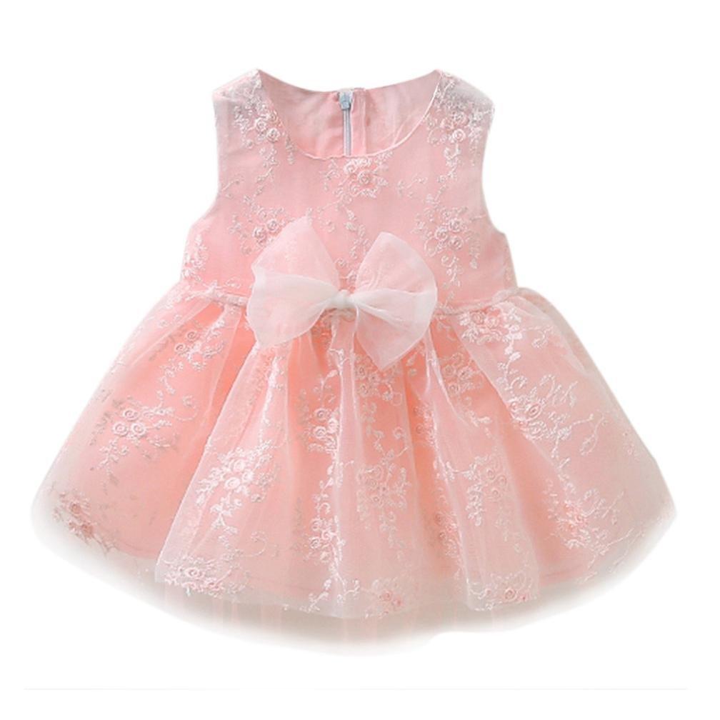 lanspo Princesa Vestido Tutu vestido para bebé niños pequeños säugling niña Punta Flores bordado vestido Niños Verano Vestido Tul Ropa Vestido Rosa Talla:6-12 meses
