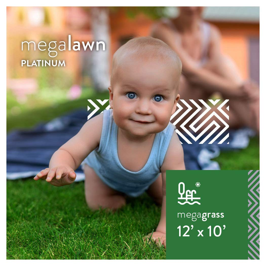 MEGAGRASS MegaLawn Platinum 12 x 10 Ft Artificial Grass for Pet Lawn and Landscaping Outdoor or Indoor Green Faux Fake Grass Decor Mat Rug Carpet Turf 120 SqFt 1.88'' Tall Blades 92 oz Face Weight