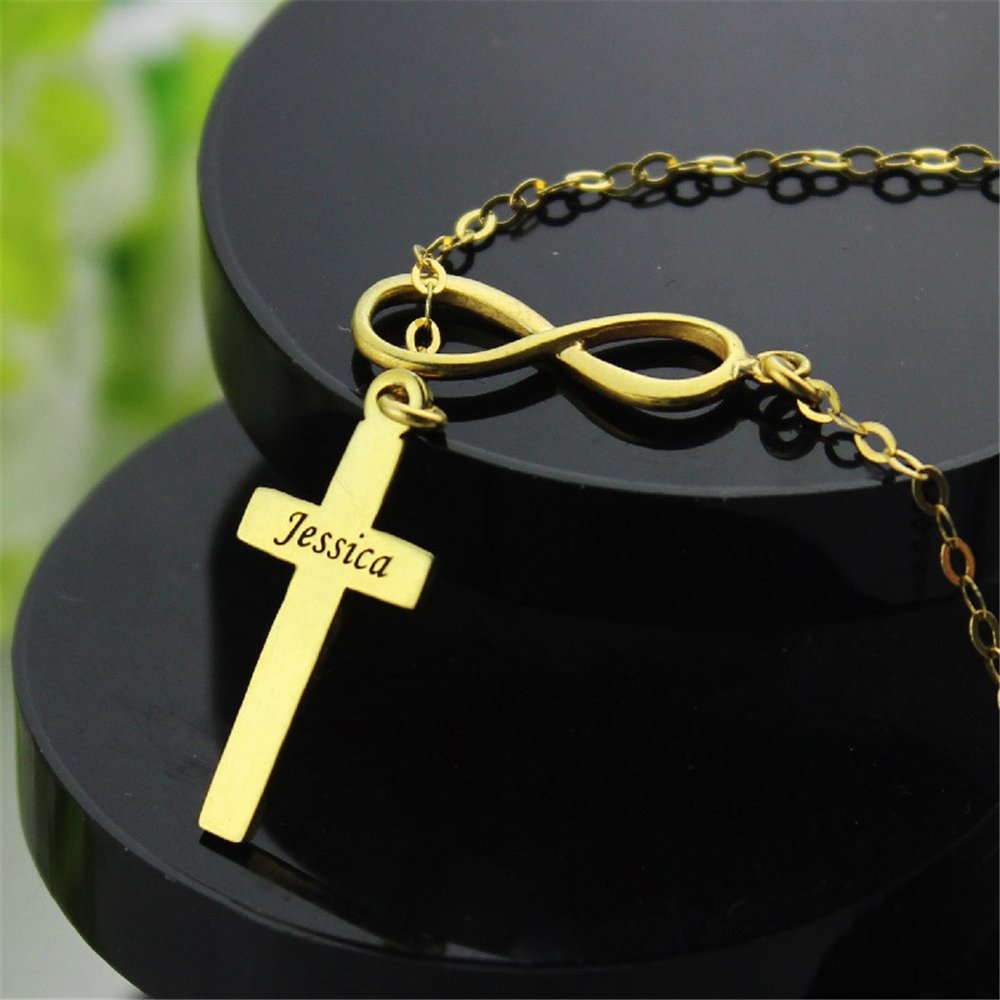 Custom Made Gift Infinity and Cross Name Y Necklace Personalized Infinity and Cross Nameplate Pendant To My Faith Forever