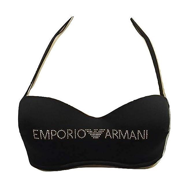 1cf844493b12 Emporio Armani Costume Reggiseno Balconcino Fascia Nero: Amazon.it:  Abbigliamento