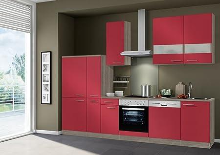 Idealshopping Blocco Cucina Imola Con Lavastoviglie E Piano In Ceramica 300 Cm Colore Rosso Lucido Amazon It Casa E Cucina
