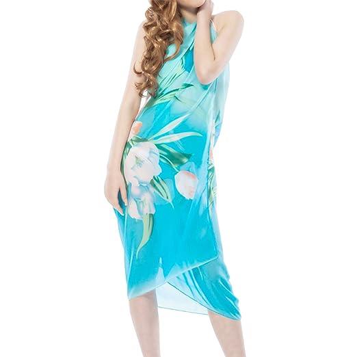 ff988e8a18572 LAPAYA Women's Swimwear Cover Up Colorful Floral Chiffon Pareo Beach Sarong  Wrap, Blue, Free size 135*175cm at Amazon Women's Clothing store: