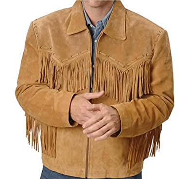 Giacca Classyak da uomo, cowboy, frange in pelle semplice