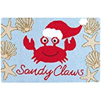 C&F Home Hooked Sandy Claws Coastal Christmas Rug, Blue