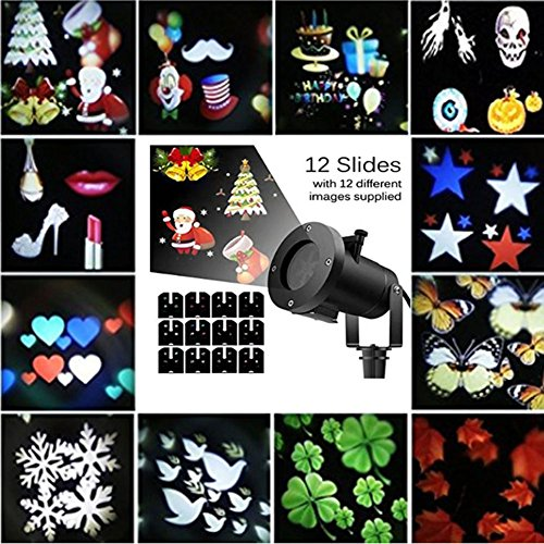 LED Projector Light Party Christmas Landscape Spotlight with 12 Slides Dynamic Lighting Laser Lights Waterproof Flying Snowflake LED Projection Light Show for Halloween Holiday Decoration For Sale