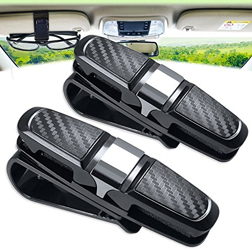 2 Pack Glasses Holders for Car Sun Visor, Double Sunglasses Eyeglasses Mount with Ticket Card Slot ,Car Glasses Holder for Your Sunglasses - Sunglasses Decent