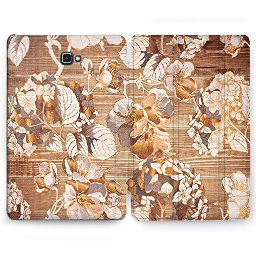 Wonder Wild Plank Blooming Samsung Galaxy Tab S4 S2 S3 Smart Stand Case 2015 2016 2017 2018 Tablet Cover 8 9.6 9.7 10 10.1 10.5 Inch Clear Design Wooden Tropical Flowers Equatorial Nature Lumberjack