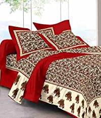 UniqChoice Jaipuri Print Rajasthani Tradition 210 TC Cotton Double Bedsheet with 2 Pillow Covers - Red