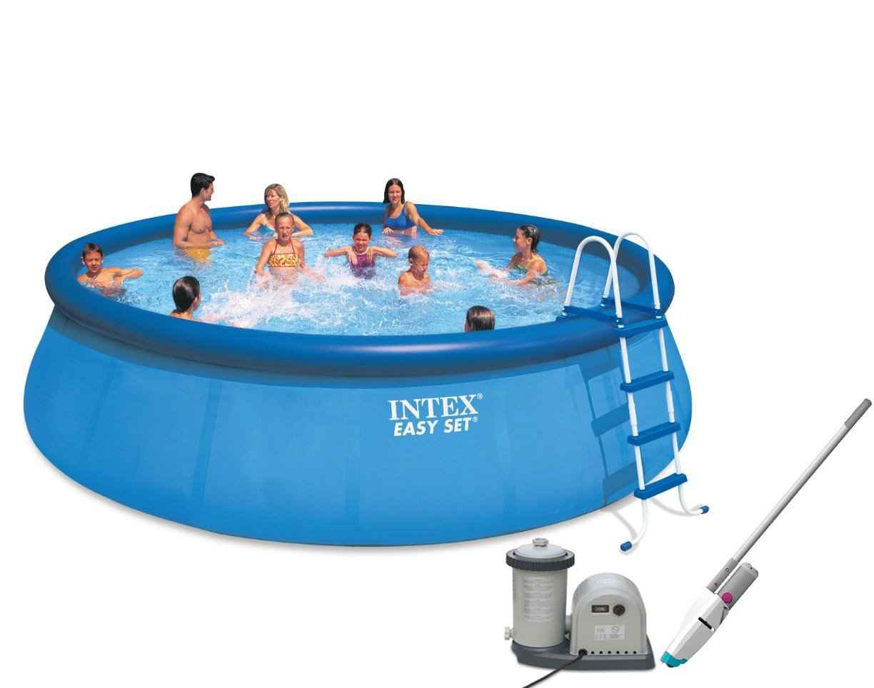 Intex 18' x 48'' Easy Set Pool with Pump & Kokido Telsa 10 Handheld Vacuum