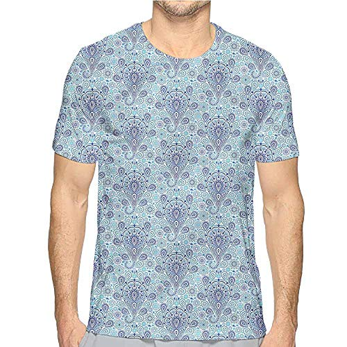 (Jinguizi Mens t Shirt Pale Blue,Intricate Persian Paisley HD Print t Shirt XXL)