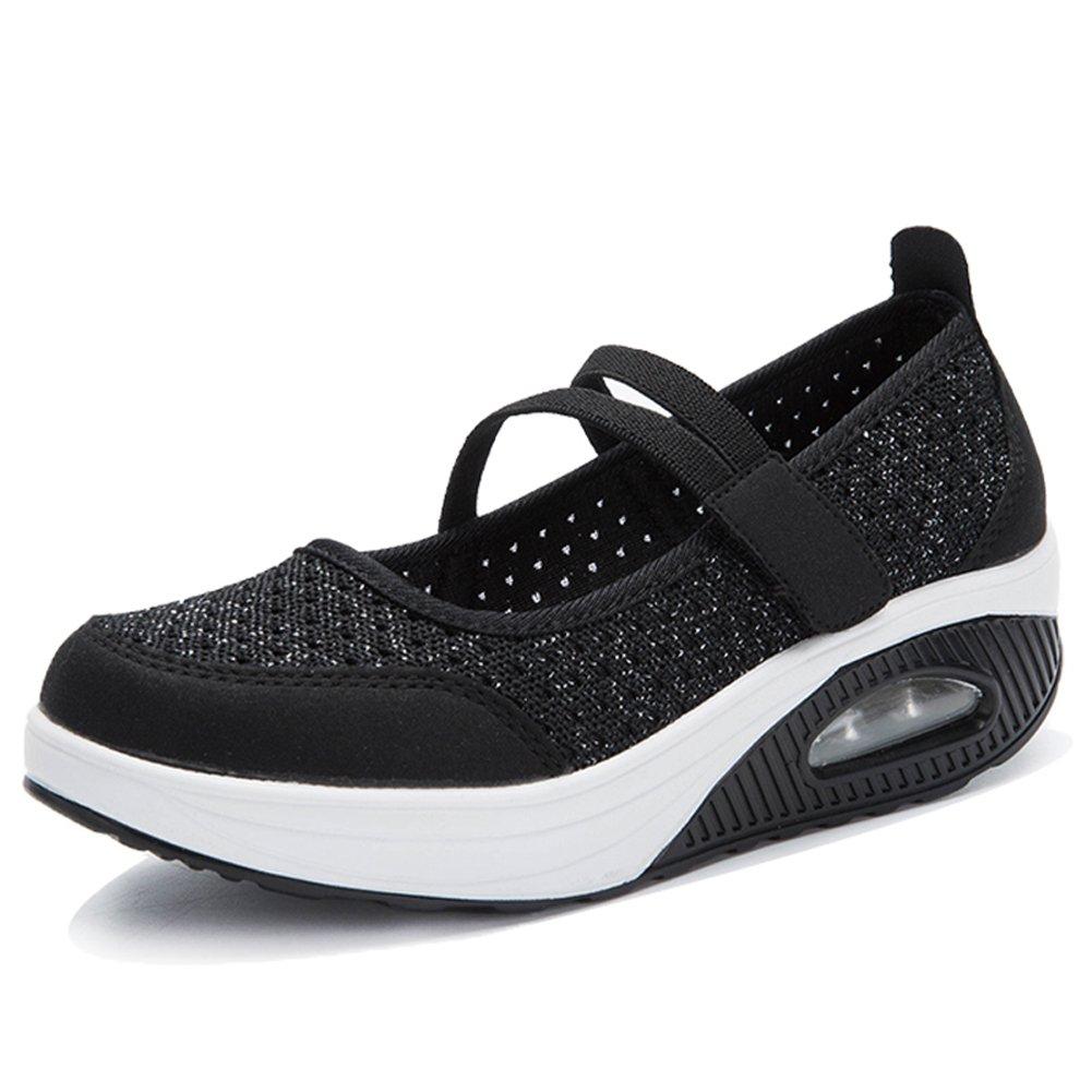 YKH YKH-TF8023heise41 Womens Mary Jane Walking Shoes Rocker Hook-and-Loop Sneakers Black 9 US