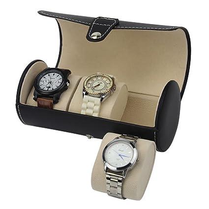 Piel del viajero reloj caja de almacenamiento rollo Wrap Caso Organizador Viaje reloj coleccionista caja con