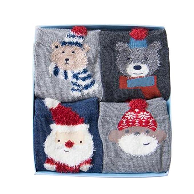 Hzjundasi 4 pares niñas niños niños niños navidad calcetines algodón animal calcetín regalo de navidad: Amazon.es: Ropa y accesorios