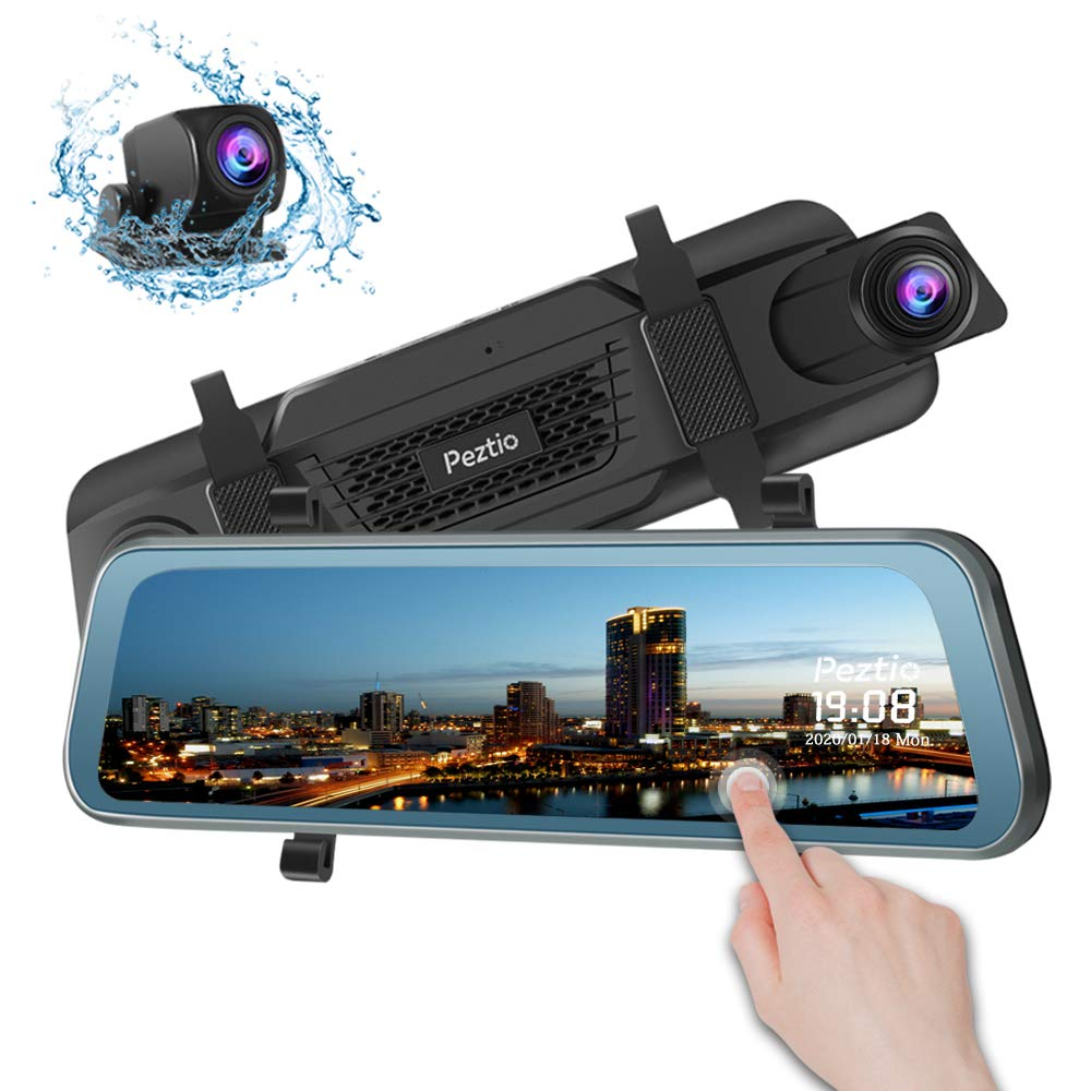 Mirror Dash Cam Front and Rear, 1080P FHD 9.66 inch Full Touch Screen Rear View Mirror Dual Dash Cam with 720P Backup Camera, Super Night Vision, G Sensor, Parking Monitor, Loop Recording by Peztio