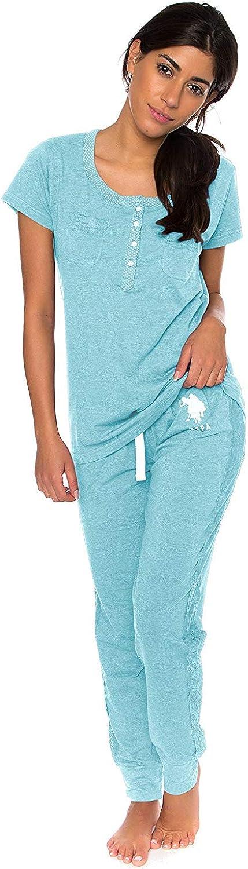 Polo Assn U.S Womens Short Sleeve Shirt and Long Pajama Pants Sleepwear Set