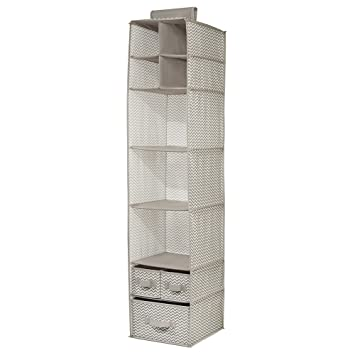InterDesign 7 Shelf And 3 Drawer Organizer   Chevron Hanging Closet Storage  System,